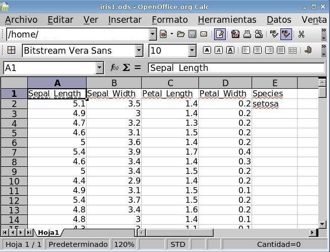 Manejo de datos con hoja de cálculo